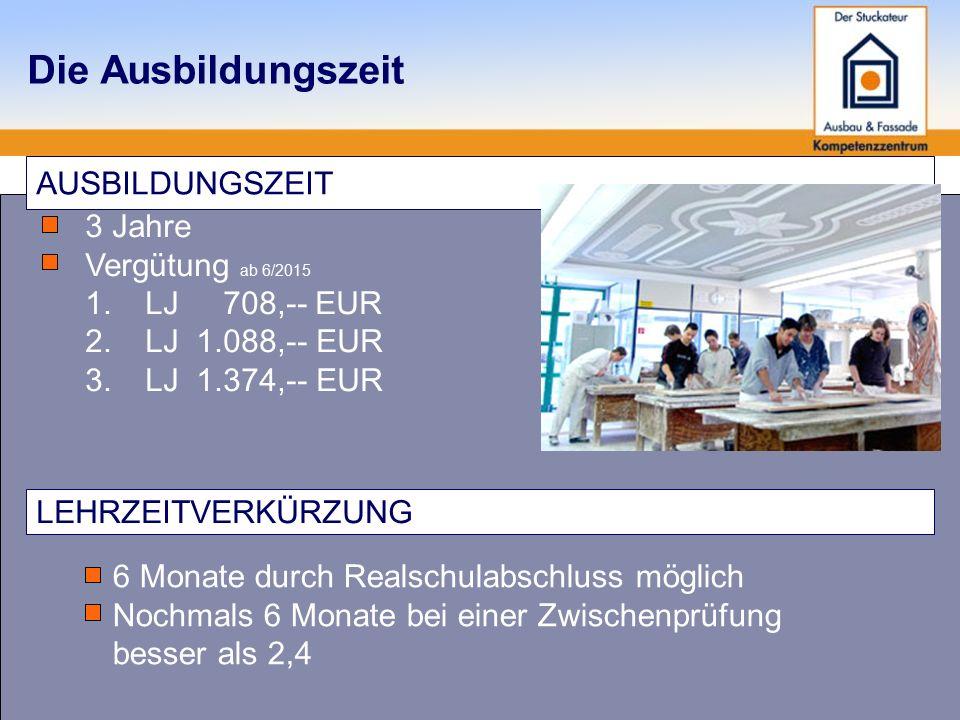 Die Ausbildungszeit AUSBILDUNGSZEIT 3 Jahre Vergütung ab 6/2015