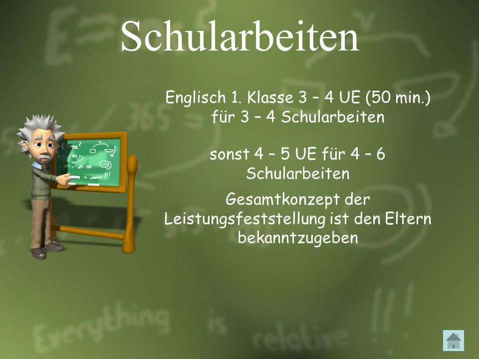 Schularbeiten Englisch 1. Klasse 3 – 4 UE (50 min.) für 3 – 4 Schularbeiten. sonst 4 – 5 UE für 4 – 6 Schularbeiten.