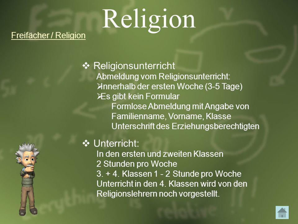Religion Religionsunterricht Unterricht: Freifächer / Religion