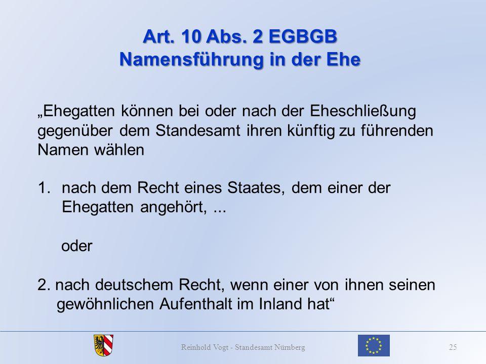 Art. 10 Abs. 2 EGBGB Namensführung in der Ehe