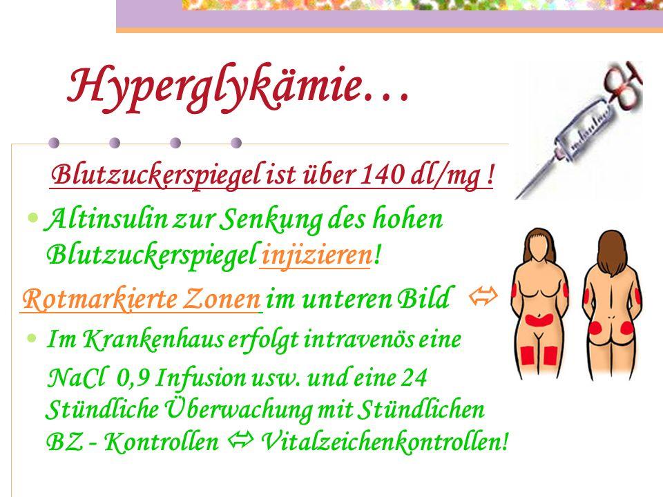 Hyperglykämie… Blutzuckerspiegel ist über 140 dl/mg !
