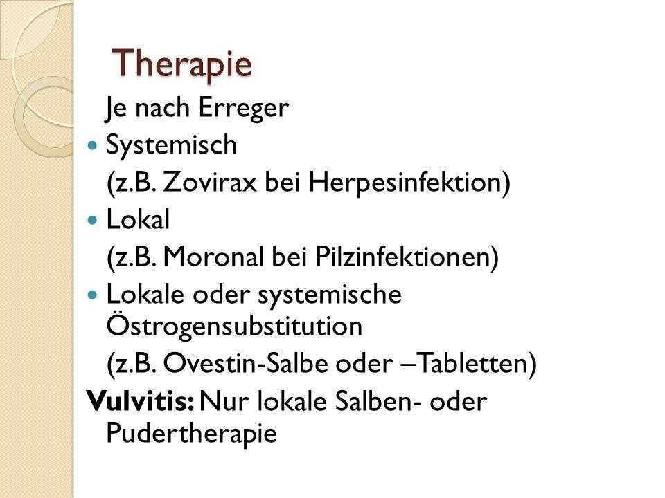 Therapie Je nach Erreger Systemisch (z.B. Zovirax bei Herpesinfektion)