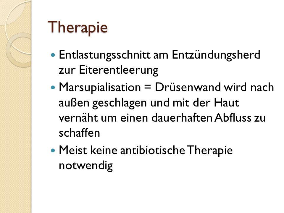 Therapie Entlastungsschnitt am Entzündungsherd zur Eiterentleerung