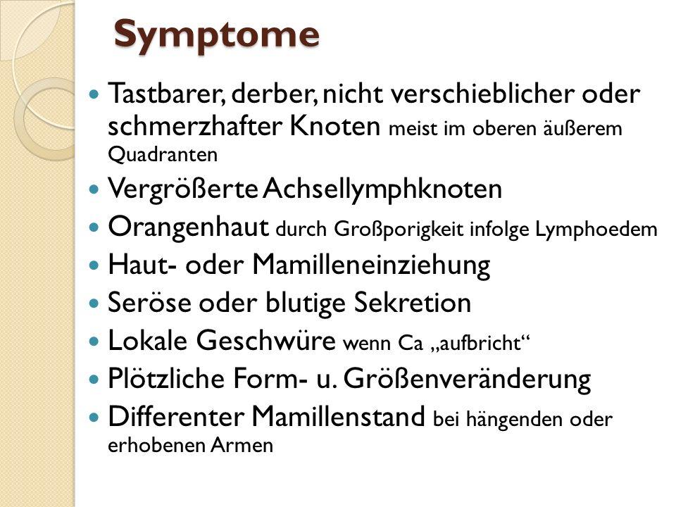 Symptome Tastbarer, derber, nicht verschieblicher oder schmerzhafter Knoten meist im oberen äußerem Quadranten.