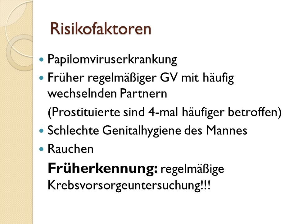 Risikofaktoren Papilomviruserkrankung