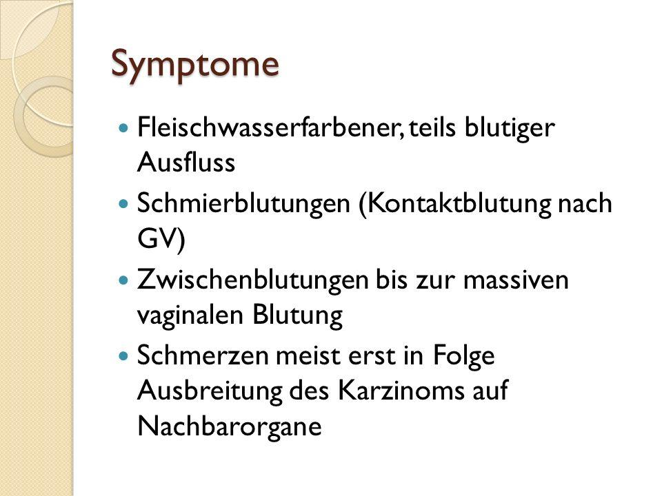 Symptome Fleischwasserfarbener, teils blutiger Ausfluss