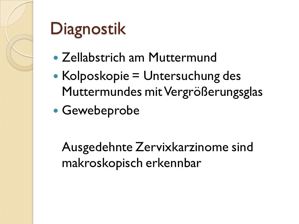 Diagnostik Zellabstrich am Muttermund