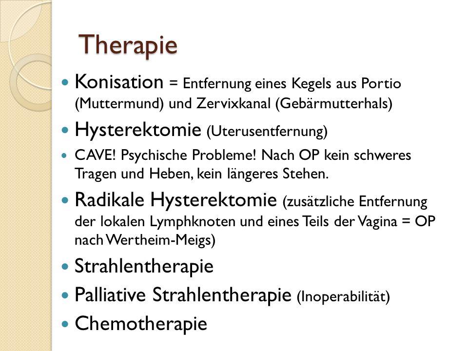 Therapie Konisation = Entfernung eines Kegels aus Portio (Muttermund) und Zervixkanal (Gebärmutterhals)