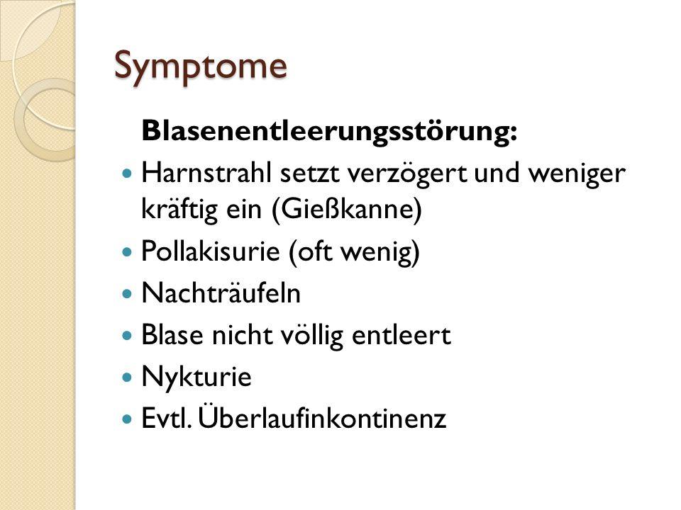 Symptome Blasenentleerungsstörung: