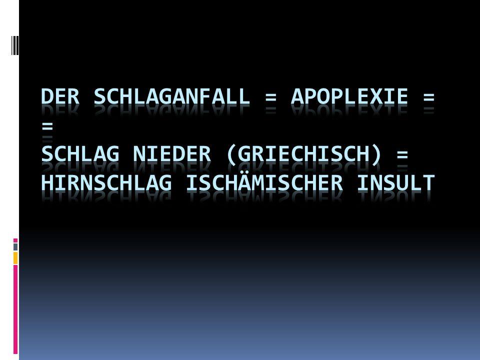 Der Schlaganfall = Apoplexie = = Schlag nieder (griechisch) = Hirnschlag Ischämischer Insult