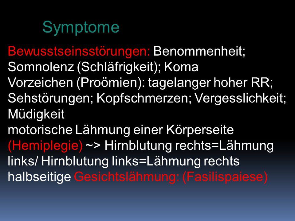 Symptome Bewusstseinsstörungen: Benommenheit; Somnolenz (Schläfrigkeit); Koma.