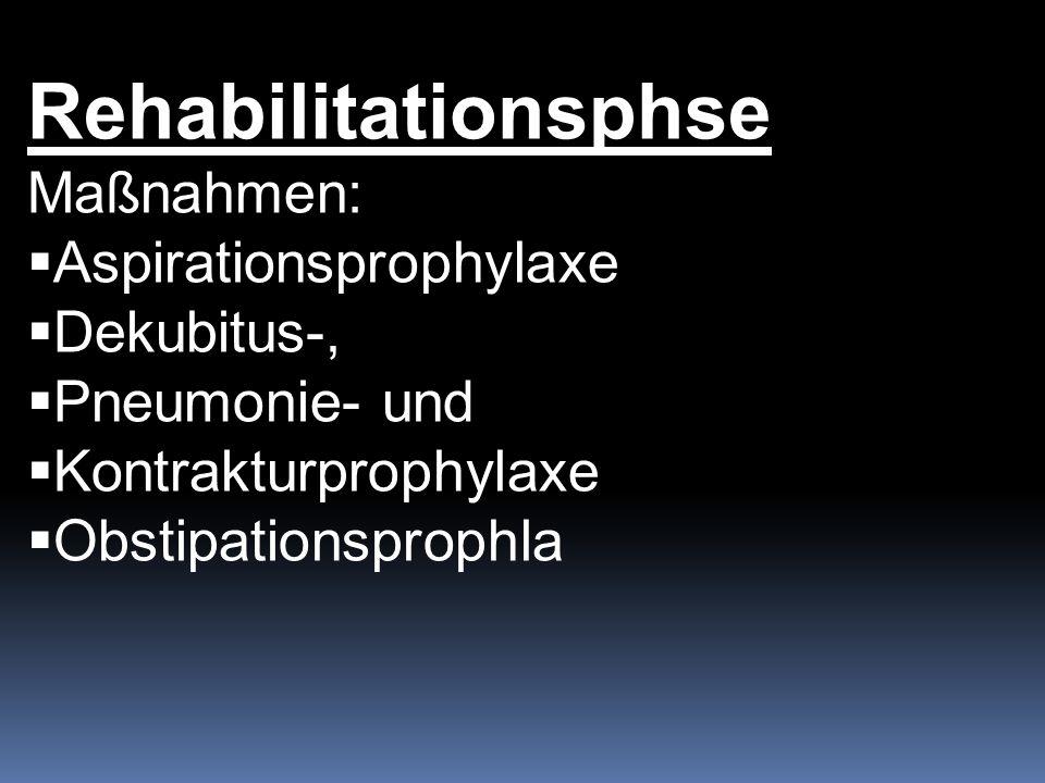 Rehabilitationsphse Maßnahmen: Aspirationsprophylaxe Dekubitus-,