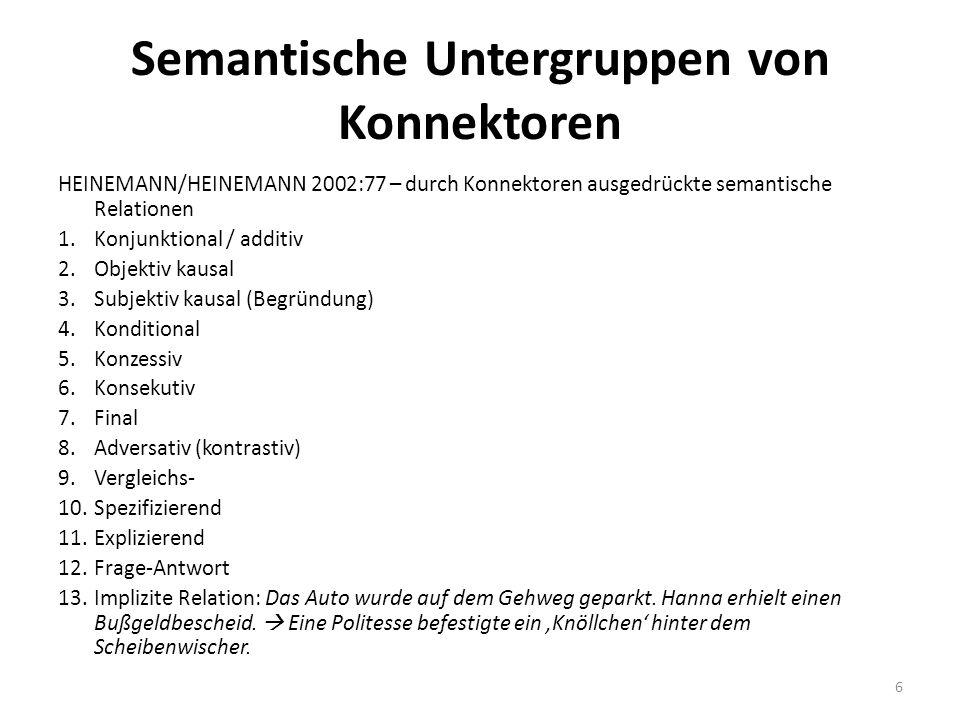 Semantische Untergruppen von Konnektoren