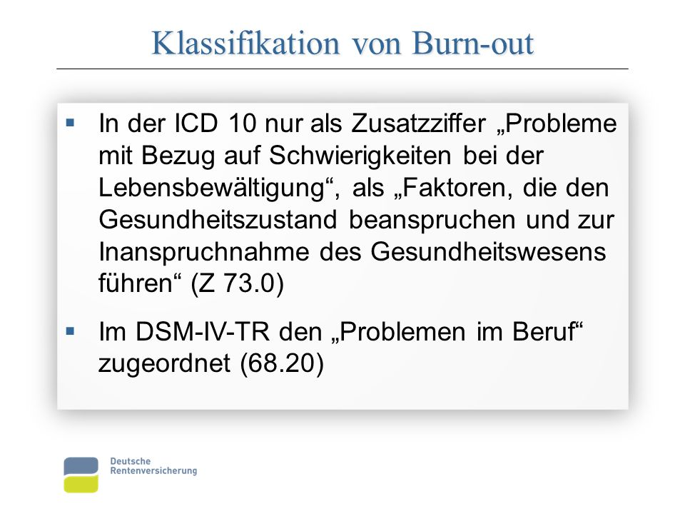 Klassifikation von Burn-out