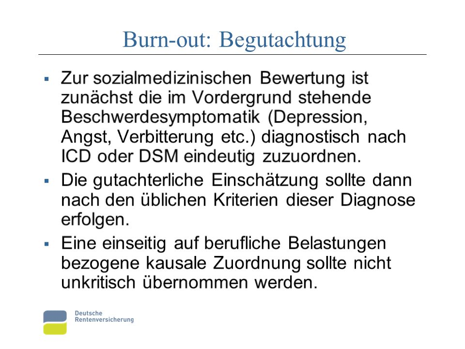 Burn-out: Begutachtung
