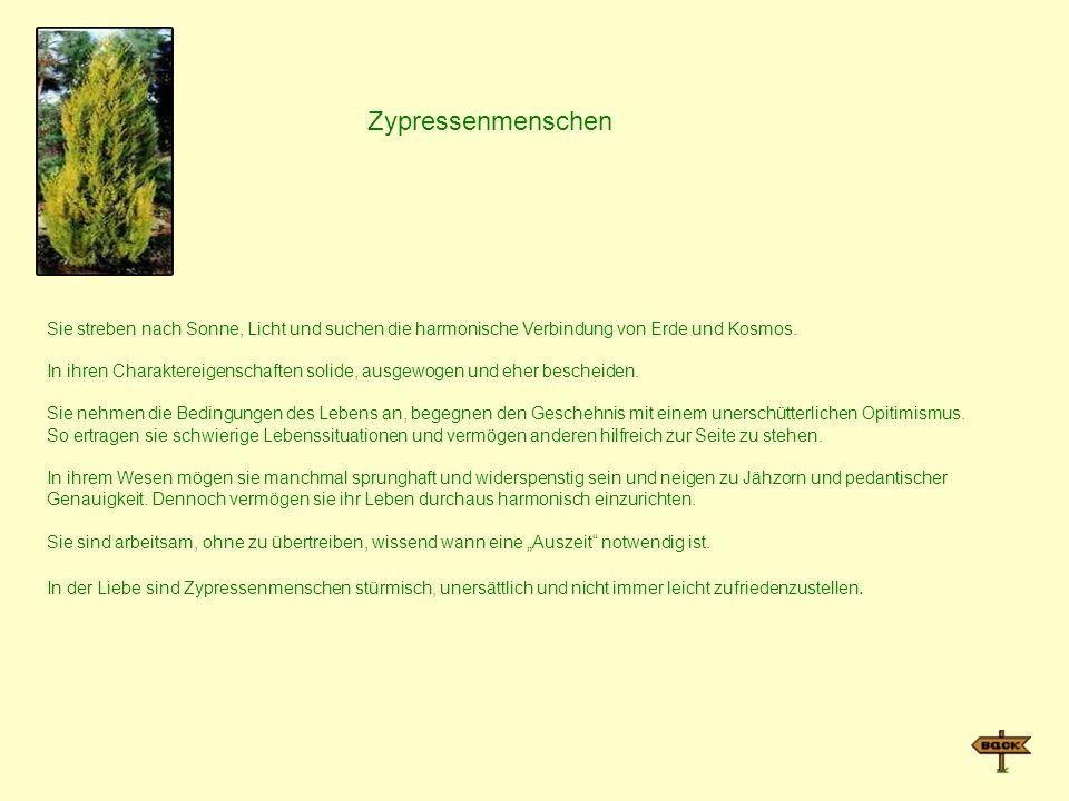 ZypressenmenschenSie streben nach Sonne, Licht und suchen die harmonische Verbindung von Erde und Kosmos.