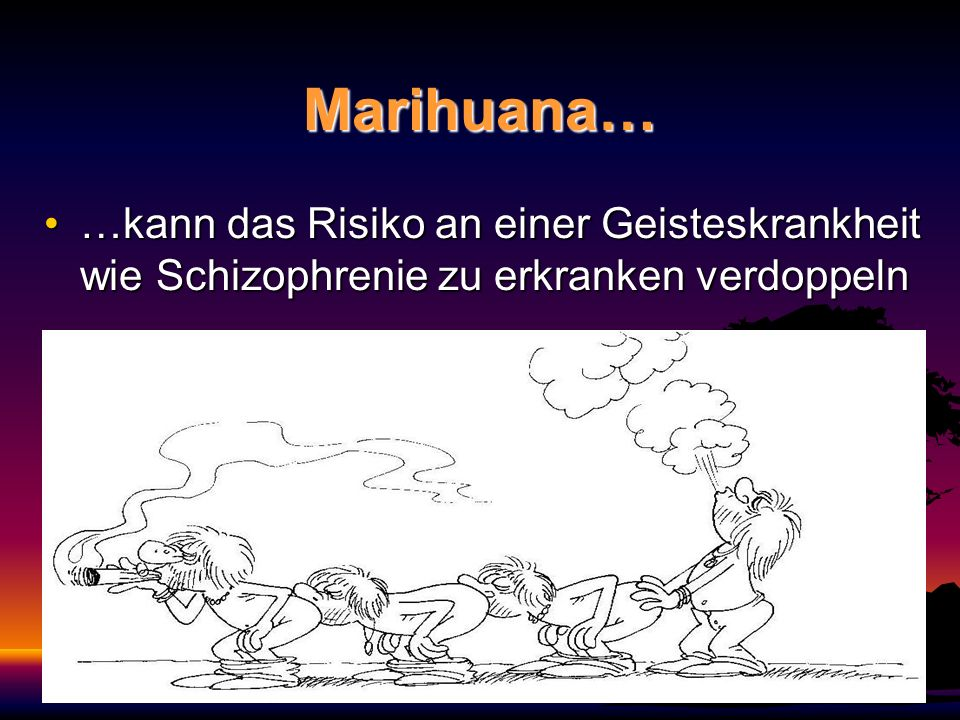 Marihuana… …kann das Risiko an einer Geisteskrankheit wie Schizophrenie zu erkranken verdoppeln