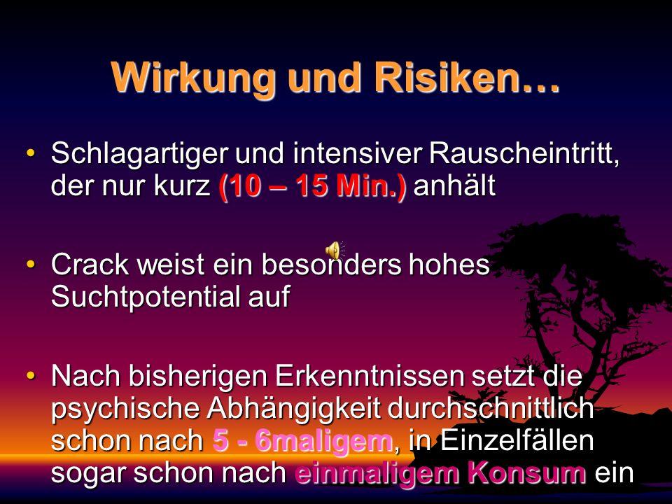 Wirkung und Risiken… Schlagartiger und intensiver Rauscheintritt, der nur kurz (10 – 15 Min.) anhält.