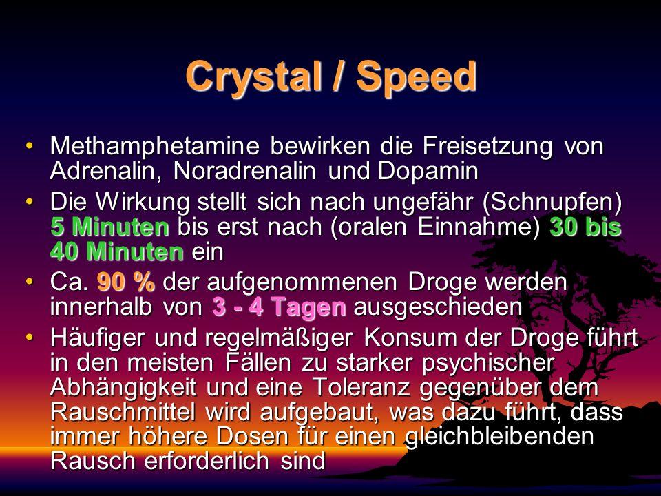 Crystal / Speed Methamphetamine bewirken die Freisetzung von Adrenalin, Noradrenalin und Dopamin.