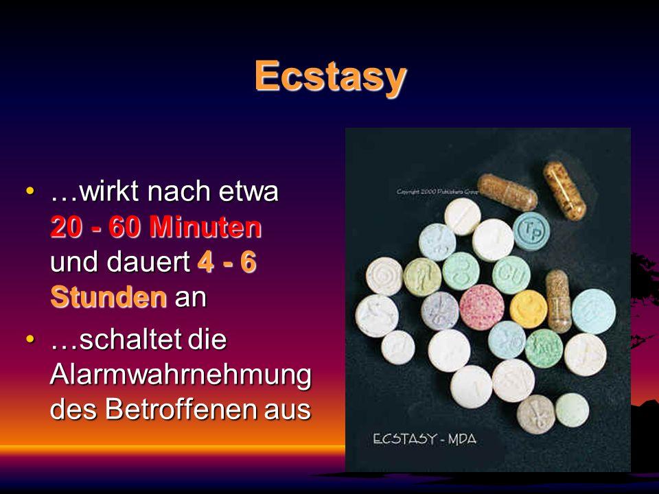 Ecstasy …wirkt nach etwa 20 - 60 Minuten und dauert 4 - 6 Stunden an