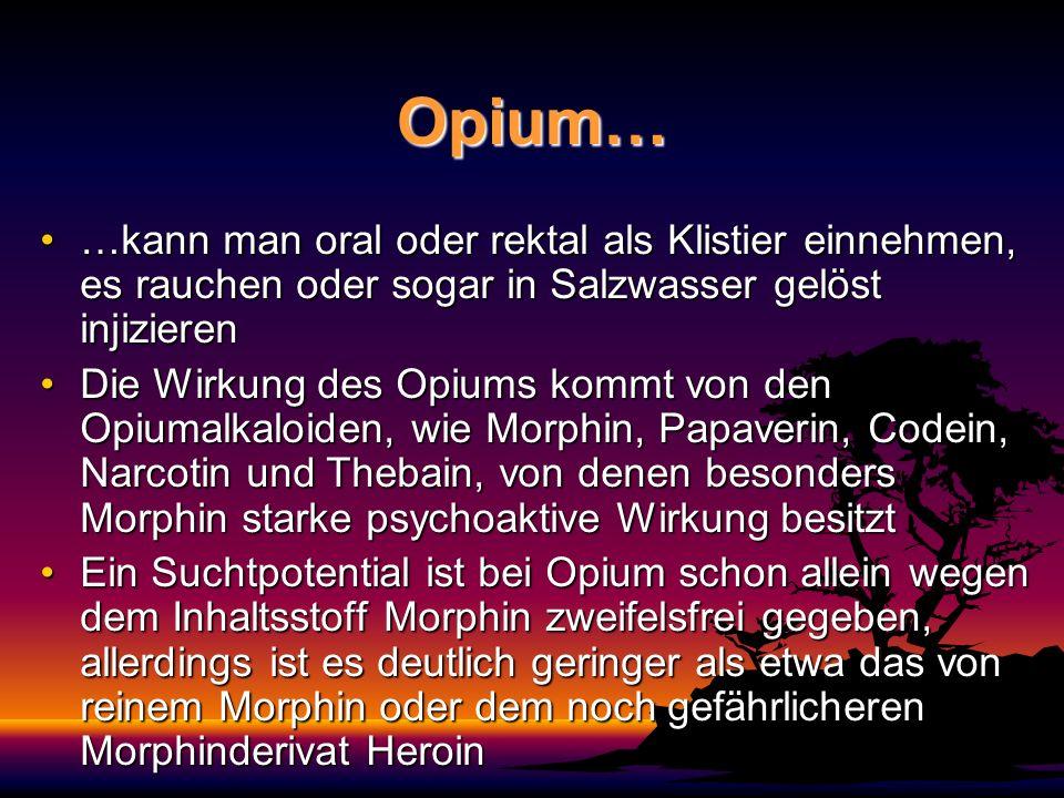 Opium… …kann man oral oder rektal als Klistier einnehmen, es rauchen oder sogar in Salzwasser gelöst injizieren.