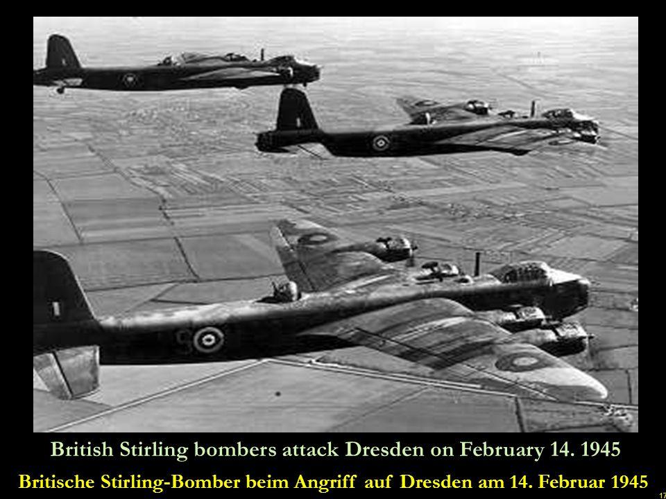 Britische Stirling-Bomber beim Angriff auf Dresden am 14. Februar 1945