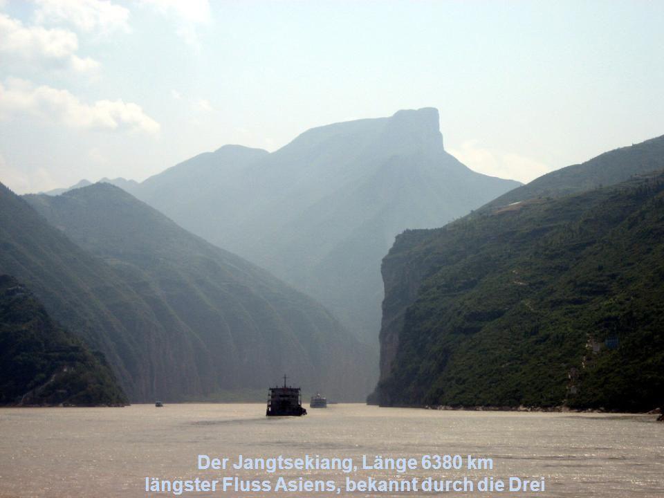 Der Jangtsekiang, Länge 6380 km