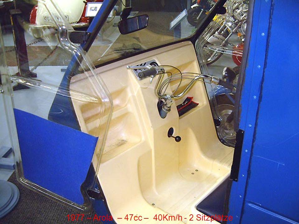 1977 – Arola – 47cc – 40Km/h - 2 Sitzplätze