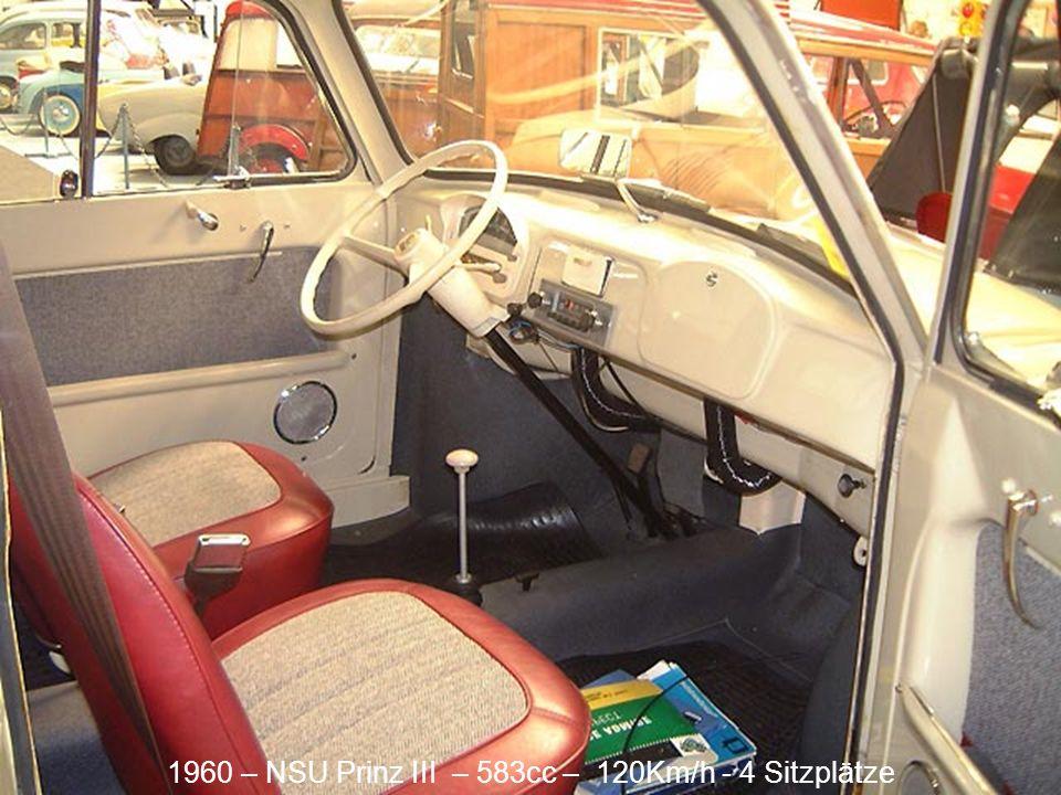1960 – NSU Prinz III – 583cc – 120Km/h - 4 Sitzplätze