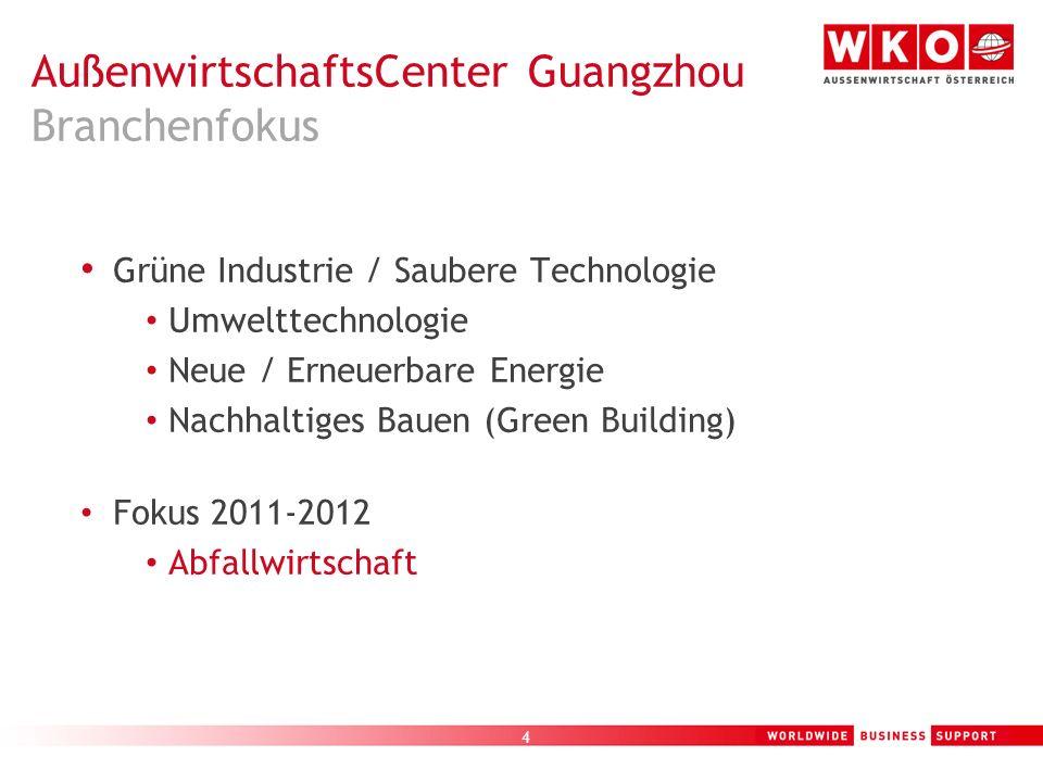 AußenwirtschaftsCenter Guangzhou Branchenfokus