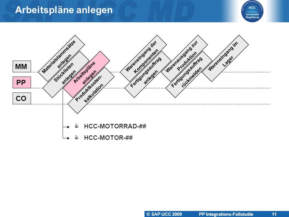 Arbeitspläne anlegen MM PP CO  HCC-MOTORRAD-##  HCC-MOTOR-##