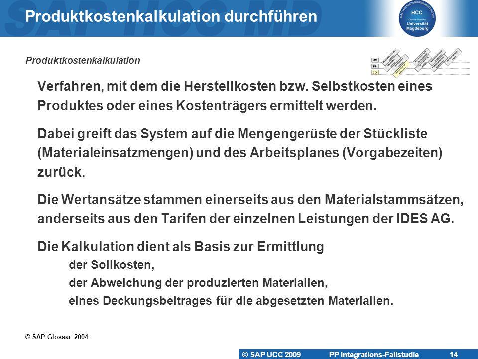 Produktkostenkalkulation durchführen