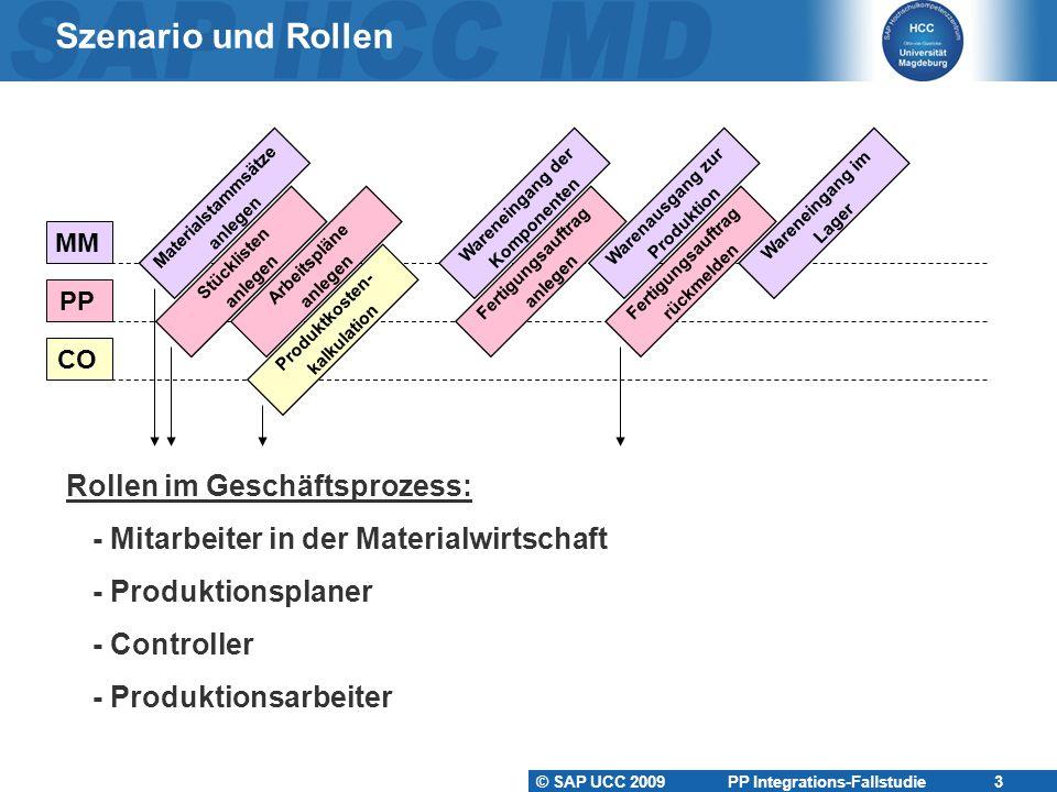Szenario und Rollen Rollen im Geschäftsprozess: