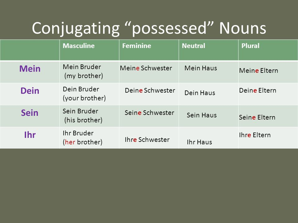 Conjugating possessed Nouns
