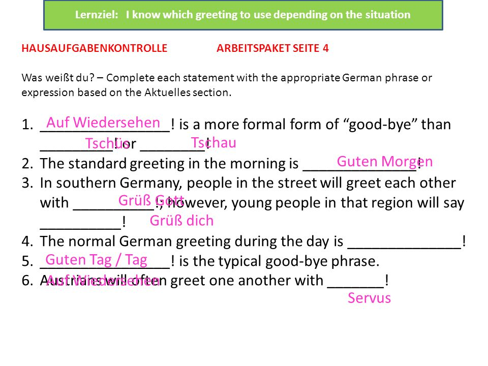 Lernziel: I know which greeting to use depending on the situation