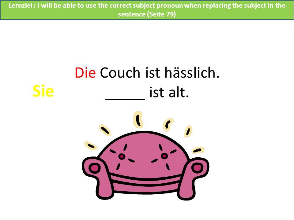 Die Couch ist hässlich. _____ ist alt.