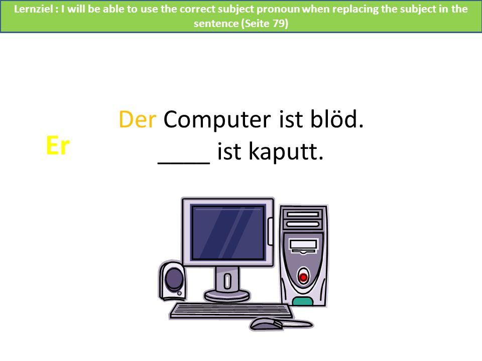 Der Computer ist blöd. ____ ist kaputt.