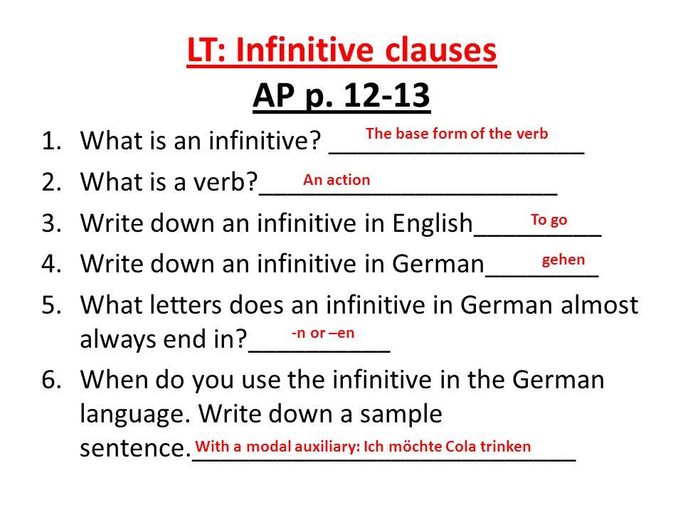 LT: Infinitive clauses AP p. 12-13