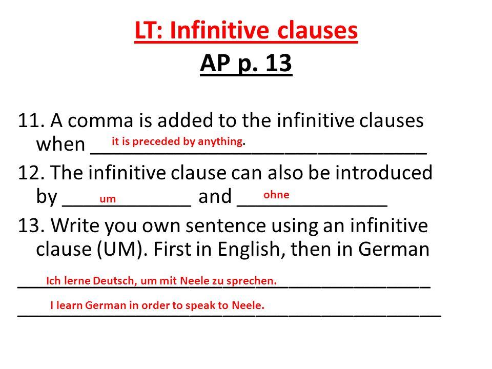 LT: Infinitive clauses AP p. 13