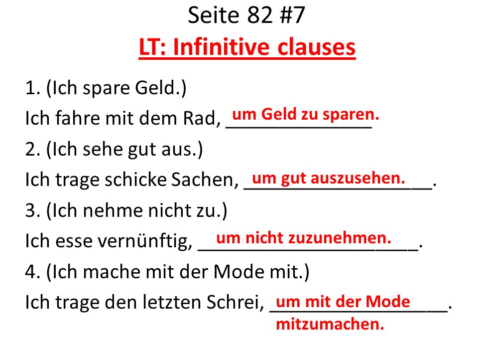 Seite 82 #7 LT: Infinitive clauses