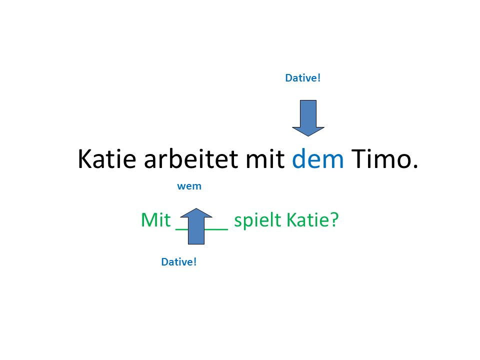 Katie arbeitet mit dem Timo.