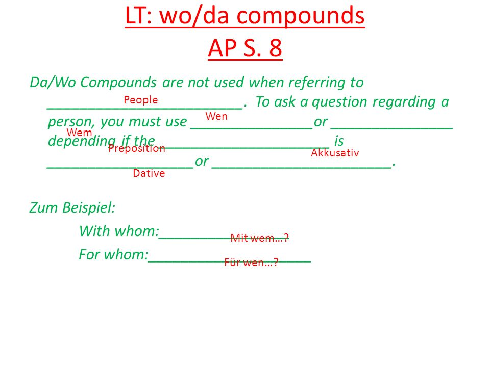 LT: wo/da compounds AP S. 8