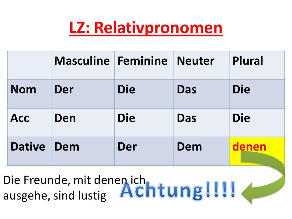 Achtung!!!! LZ: Relativpronomen Masculine Feminine Neuter Plural Nom