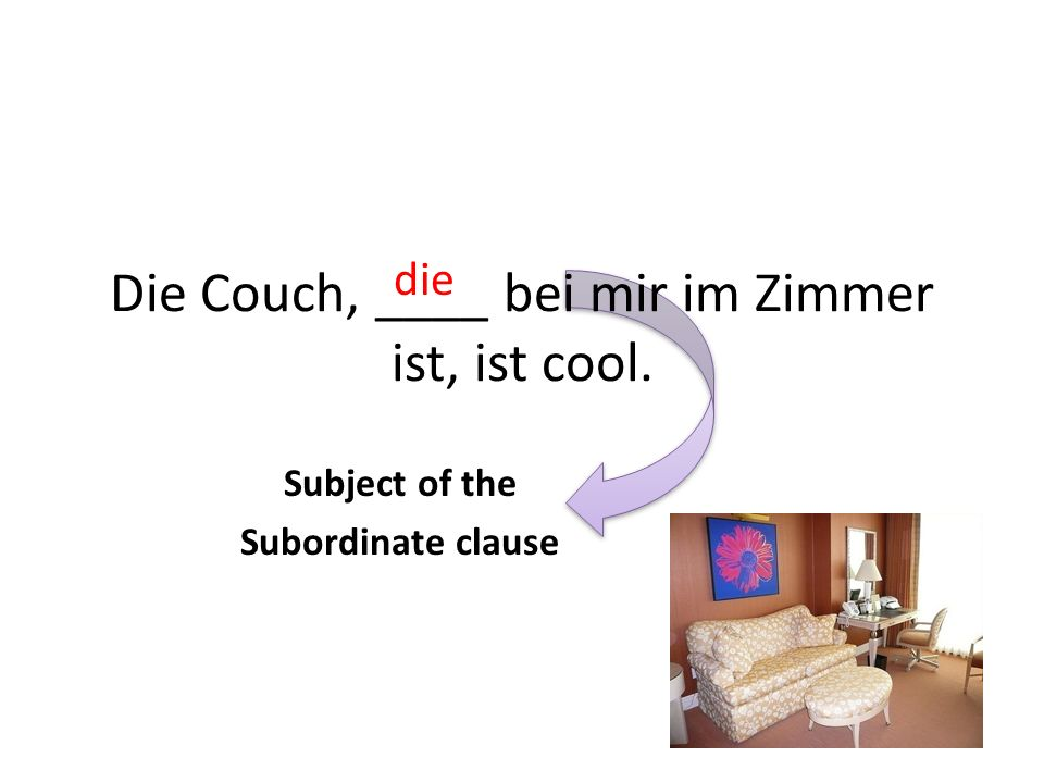 Die Couch, ____ bei mir im Zimmer ist, ist cool.