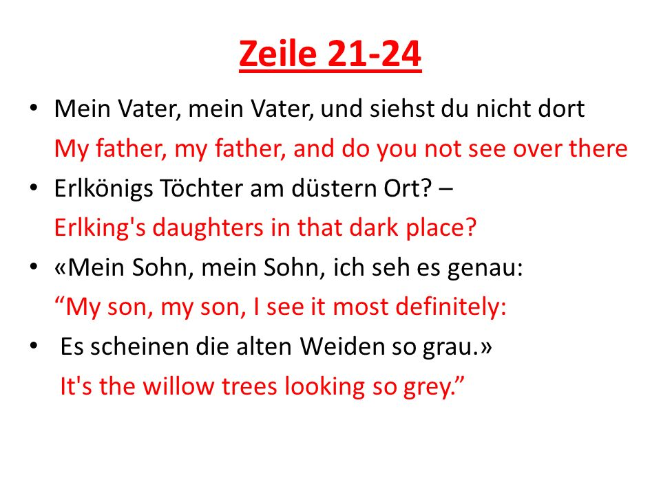 Zeile 21-24 Mein Vater, mein Vater, und siehst du nicht dort
