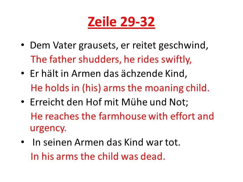 Zeile 29-32 Dem Vater grausets, er reitet geschwind,