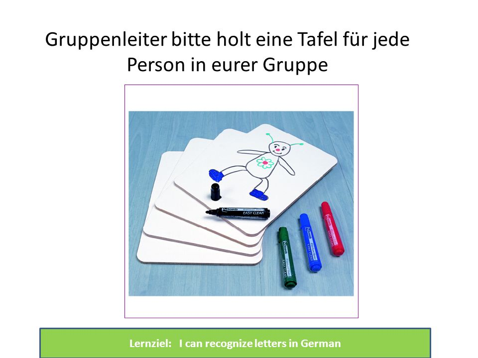 Lernziel: I can recognize letters in German