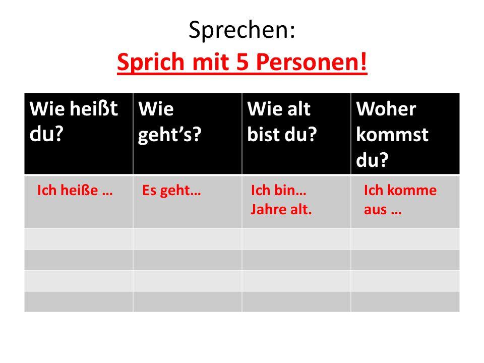 Sprechen: Sprich mit 5 Personen!