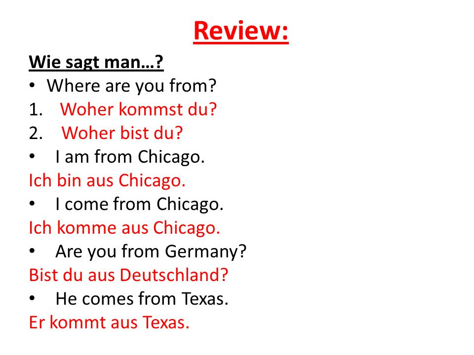 Review: Wie sagt man… Where are you from Woher kommst du