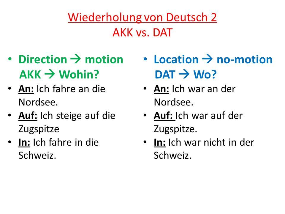 Wiederholung von Deutsch 2 AKK vs. DAT